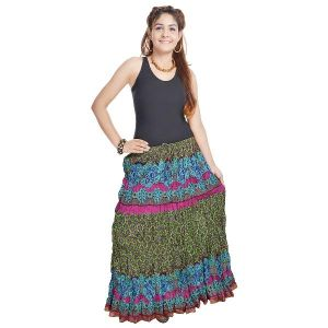 Vivan Creation Jaipuri Multi Color Pure Cotton Skirt Free Size (product Code - Smskt557)