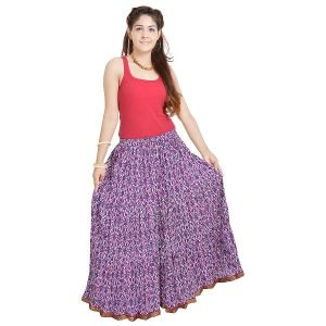 Vivan Creation Shree Mangalam Mart Ethnic Multi Floral Pure Cotton Skirt Free Size (product Code - Smskt563)