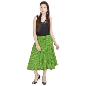 Vivan Creation Sanganeri Floral Green Short Skirt Free Size (product Code - Smskt567)