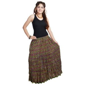 Vivan Creation Multicolor Designer Girls Cotton Full Skirt Free Size (product Code - Smskt568)