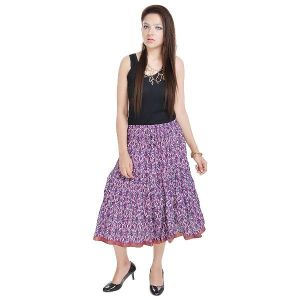 Vivan Creation Fashionable Ethnic Cotton Short Skirt Free Size (product Code - Smskt573)