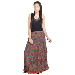 Vivan Creation Fashionable Ethnic Cotton Full Length Skirt Free Size (product Code - Smskt575)