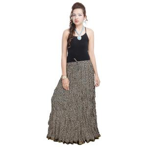 Vivan Creation Rajasthani Designer Black Cotton Skirt Free Size (product Code - Smskt576)