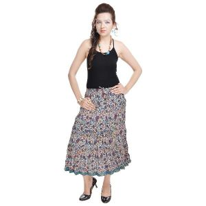 Vivan Creation Fashionable Ethnic Cotton Short Length Skirt Free Size (product Code - Smskt578)