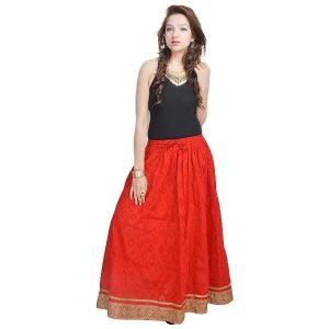 Vivan Creation Rajasthani Ethnic Red Cotton Short Skirt Free Size (product Code - Smskt585)