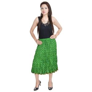 Vivan Creation Rajasthani Ethnic Green Cotton Short Skirt Free Size (product Code - Smskt586)
