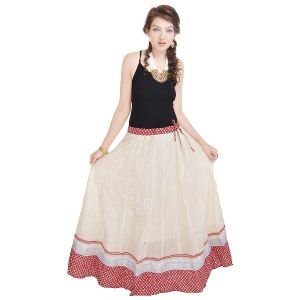 Vivan Creation Rajasthani Ethnic White Cotton Long Skirt Free Size (product Code - Smskt588)