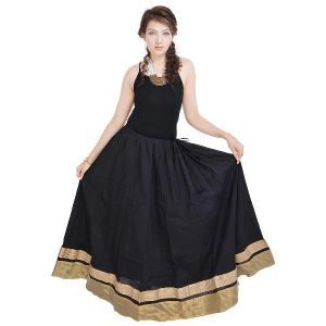 Vivan Creation Rajasthani Ethnic Black Cotton Long Skirt Free Size (product Code - Smskt590)
