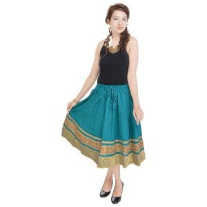 Vivan Creation Rajasthani Ethnic Green Cotton Short Skirt Free Size (product Code - Smskt591)