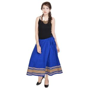 Vivan Creation Rajasthani Ethnic Blue Pure Cotton Skirt Free Size (product Code - Smskt593)
