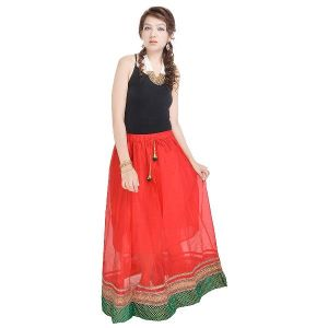 Vivan Creation Rajasthani Ethnic Red Pure Cotton Skirt Free Size (product Code - Smskt594)