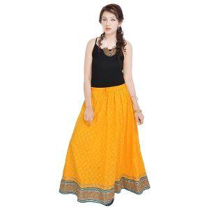 Vivan Creation Rajasthani Ethnic Yellow Pure Cotton Skirt  Free Size (Product Code - SMSKT595)