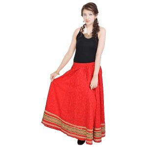 Vivan Creation Rajasthani Ethnic Red Pure Cotton Skirt Free Size (product Code - Smskt597)