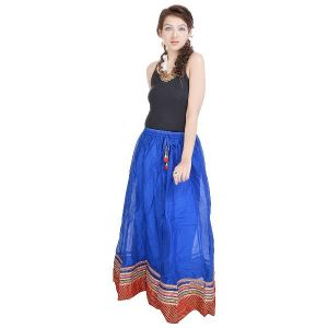 Vivan Creation Rajasthani Ethnic Blue Pure Cotton Skirt Free Size (product Code - Smskt599)