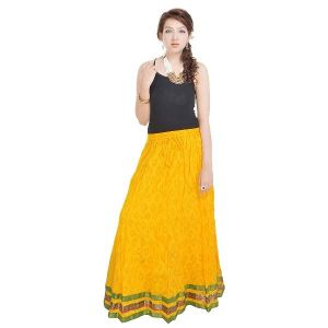 Vivan Creation Rajasthani Ethnic Yellow Pure Cotton Skirt  Free Size (Product Code - SMSKT602)