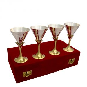 Bar Glasses - Vivan Creation Wine Glass Set of 4 Made in German Silver (Product Code - SM-HCF546)
