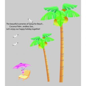 Decals Arts Coconut Tree 2 Sheet Wall Sticker