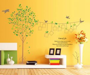 Decals Arts Photo Frame Trees Pattern Diy Wall Sticker