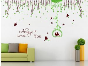 Decals Arts Beautiful Leaf With Birds 2 Sheet Wall Sticker