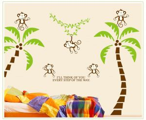 Decals Arts Naughty Monkey Cartoon With Coconut Tree Wall Sticker
