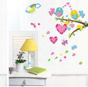 Wall stickers & decals - Decals Arts 3D 6001 Boutique Selling Love Birds Bedroom Wall Stickers