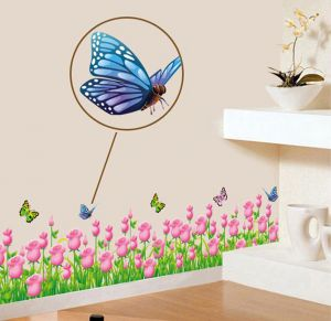 Decals Arts Tulip Orange Butterfly Border Wall Sticker