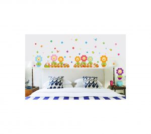 Decals Arts Cartoon Sunflower Fence Pvc Wall Sticker