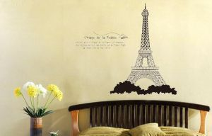 Decals Arts Black Eiffel Tower Removable Pvc Wall Sticker