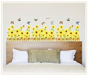 Decals Arts Yellow Sun Flower Wall Sticker Border For Home