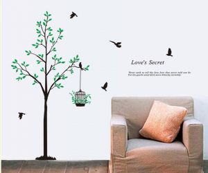 Decals Arts Tree Bird Cage Wall Sticker