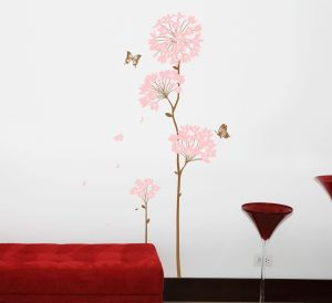 Decals Arts Pink Blooms 3rd Generation Removable Pvc Wall Sticker