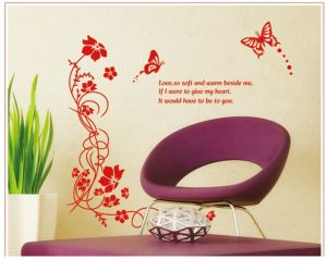 Decals Arts The Graceful Red Flower Vine Decoration Wall Sticker