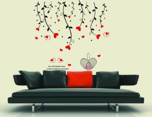 Decals Arts Red Heart Love Bird Wall Sticker For Home Dcor