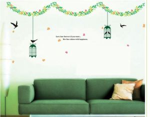 Decals Arts Modern House Love Tree Green Vine Bird Cage Wall Sticker