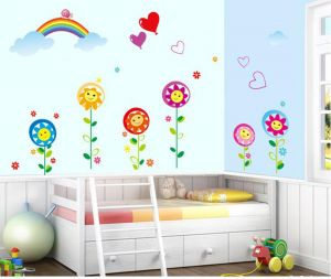 Decals Arts Rainbow Sunflower Nursery School Layout Wall Stickers