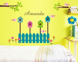 "Decals Arts Cartoon Cute Tree Bird Nest ""amanda"" Wall Sticker Girls Room"