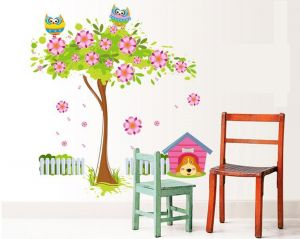 Decals Arts 3d 9008 Flower Tree And Owl Wall Stickers