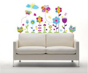 Decals Arts 3d Colourful Flowers Butterfly And Owl Wall Stickers