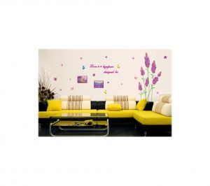 Decals Arts Purple Lavender Affixed Flat Glass Removable Wall Stickers