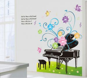 Decals Arts 3d 9501 Paino And Flowers Wall Stickers