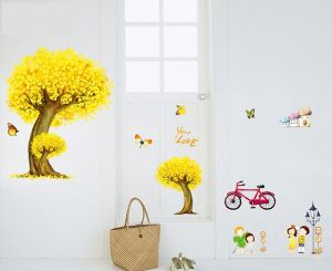 Decals Arts 3d Golden Tree Bicycle Wall Sticker For Children