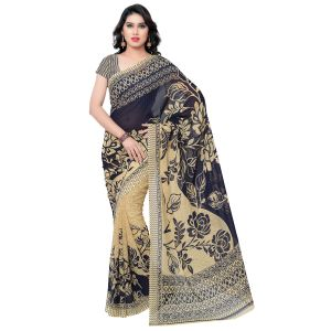 Georgette Sarees - Bhuwal fashion Navy Blue & Beige Color Georgette Printed Formal Saree, 1086_2_A