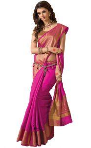 Polyester Sarees - BHuwal Fashion Pink Cotton Silk Saree - ( Code - BF144Pink )