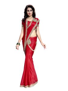 Bhuwal Fashion Ready To Wear  Red Color Lycra Saree BF1Bijli-F