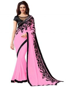 Designer Sarees - bhuwal fashion embroidered faux georgette saree with blouse pcs-bf91
