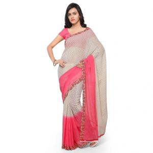 Cotton Sarees - Bhuwal Fashion Off White And Baby Pink Cotton Printed Saree (BFDNA061A)