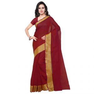 Ab Cartridge Silk Sarees - Triveni Nice Maroon Colored Art Silk Plain Saree (product Code - Tssu13251a)
