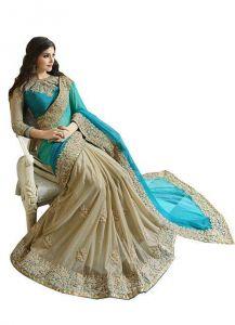 Bikaw Sarees (Misc) - Sarodiya Fabrics Cream Lighra Green Saree Hkv1