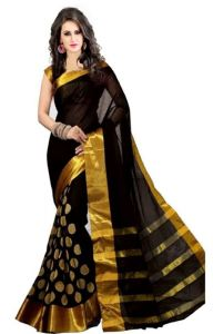 Women's Clothing - Mahadev Enterprises Black Colour Cotton Jari Embroidered Work Saree With Unstiched Blouse Pics Meg01