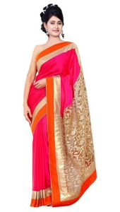 Sarees (Misc) - Aagaman Superb Magenta Colored Border Worked Net Saree